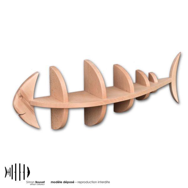 étagère murale 66cm en bois massif en forme de poisson