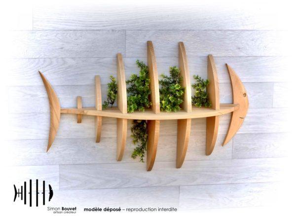 étagère poisson 80cm vue de face avec plantes vertes