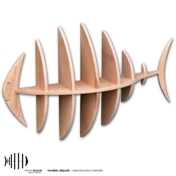 étagère murale 103cm en bois massif en forme de poisson