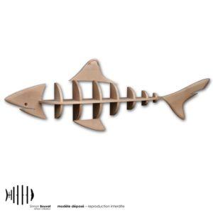 étagère murale de 2,2m en bois massif en forme de requin
