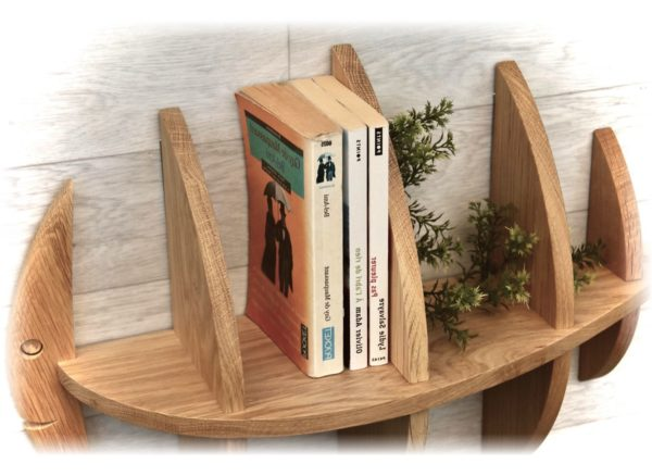 étagère poisson 60cm vue rapprochée avec des livres et plantes vertes