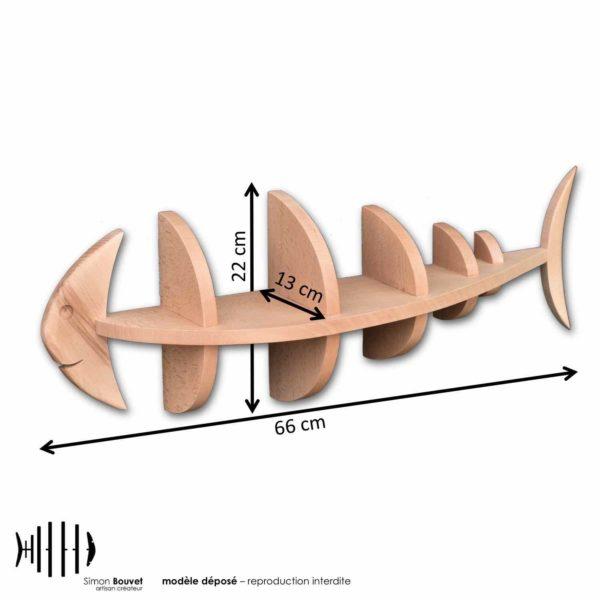 dimensions étagère poisson, longueur, hauteur, profondeur en cm : 66 x 22 x 13