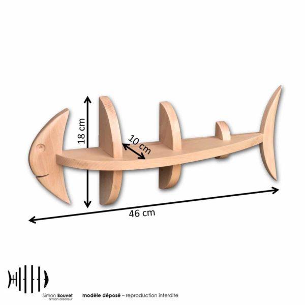dimensions étagère poisson, longueur, hauteur, profondeur en cm : 46 x 18 x 10