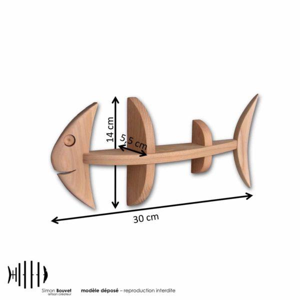 dimensions étagère poisson, longueur, hauteur, profondeur en cm : 30 x 14 x 5,5