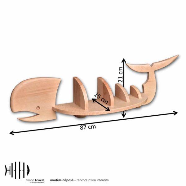 dimensions étagère baleine, longueur, hauteur, profondeur en cm : 82 x 21 x 15