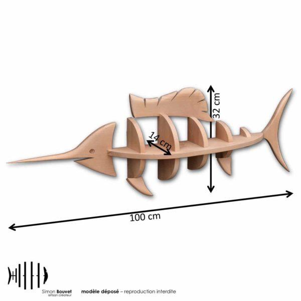 dimensions étagère espadon, longueur, hauteur, profondeur en cm : 100 x 32 x 14