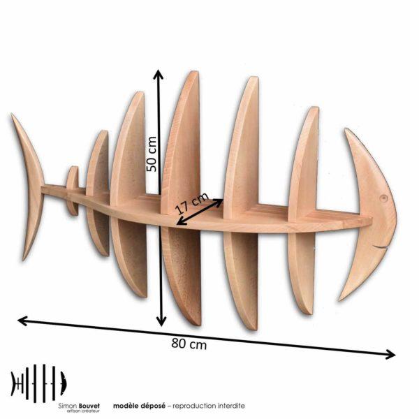 dimensions étagère poisson, longueur, hauteur, profondeur en cm : 80 x 50 x 17