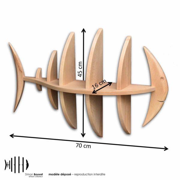 dimensions étagère poisson, longueur, hauteur, profondeur en cm : 70 x 45 x 16