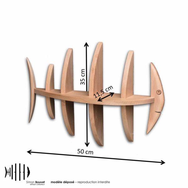 dimensions étagère poisson, longueur, hauteur, profondeur en cm : 50 x 35 x 11,5