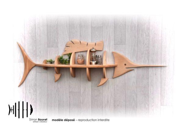 étagère espadon 132cm vue de face avec pots à épices et plantes vertes.