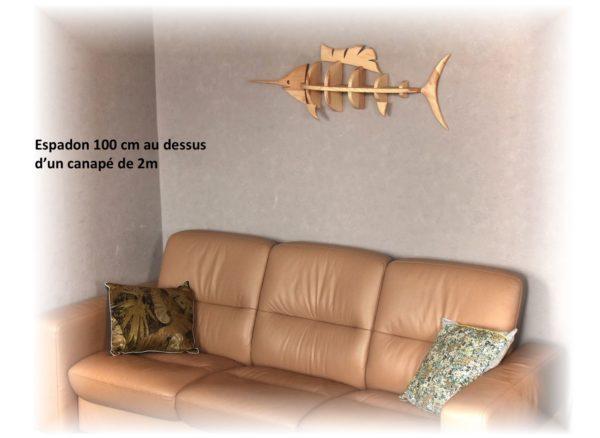 étagère espadon 100cm au dessus d'un canapé de 2m de longueur