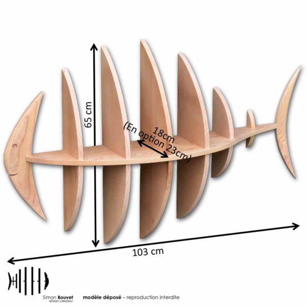 dimensions étagère poisson, longueur, hauteur, profondeur en cm : 103 x 65 x 18 (en option 23cm)